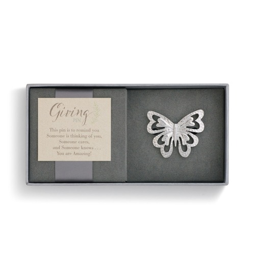 Demdaco Giving Pin - Silver Butterfly