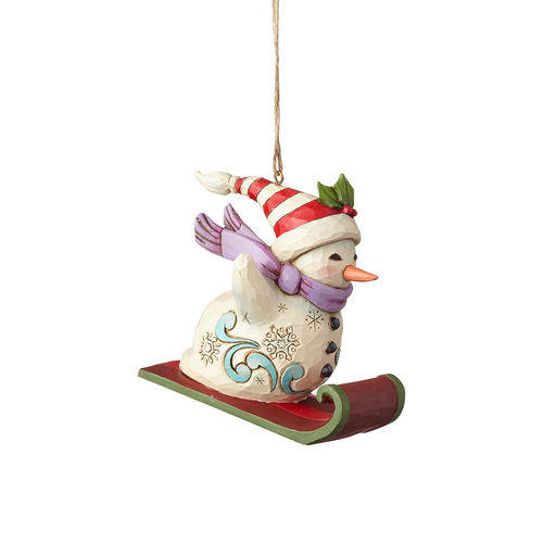 Heartwood Creek Classic - Snowman Sledding Hanging Ornament