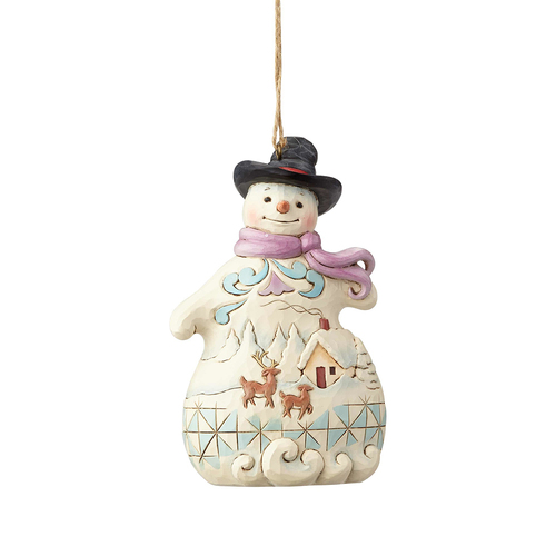 Heartwood Creek Hanging Ornament Collection - Snowman with Scene