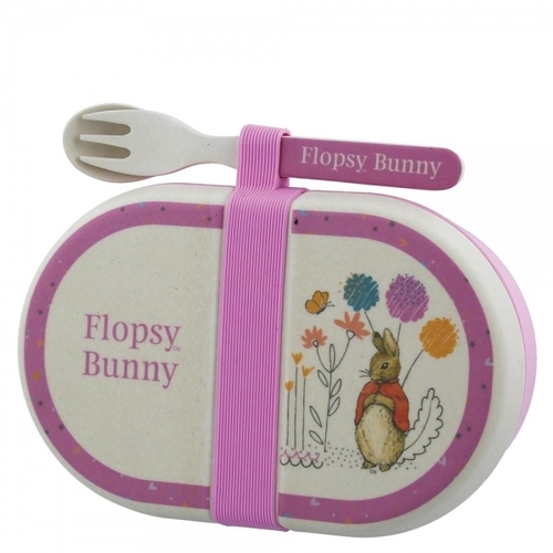 Beatrix Potter Peter Rabbit Flopsy Organic Snack Box with Cutlery Set