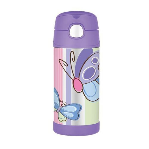 Thermos Funtainer Drink Bottle 355ml Purple Butterfly