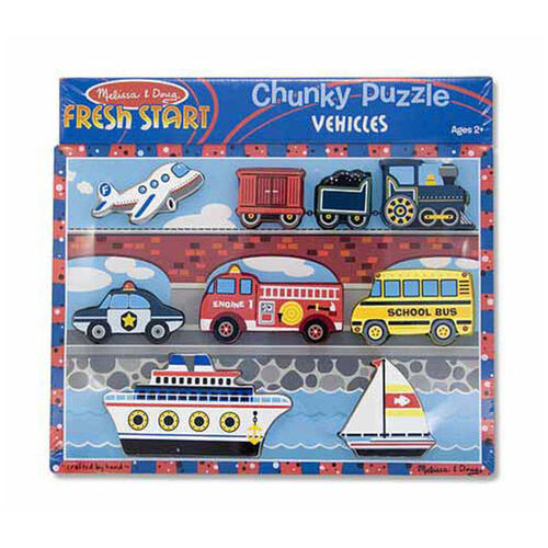 Melissa & Doug Chunky Puzzle - Vehicles 9 Pieces