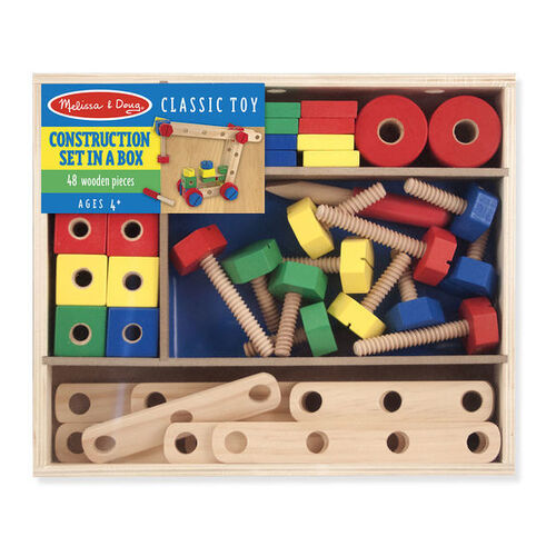 Melissa & Doug Classic Toy - Construction Building Set in a Box