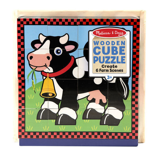 Melissa & Doug Cube Puzzle - Farm Animals 16 Pieces