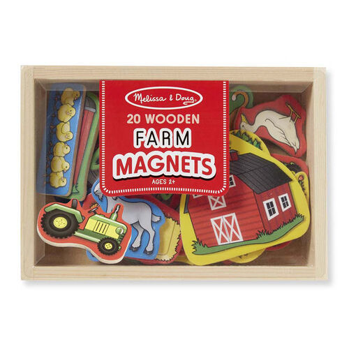 Melissa & Doug Magnetic Learning - 20 Wooden Farm Magnets