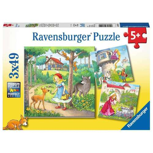 Ravensburger Puzzle 3 x 49pc - Rapunzel, Riding Hood and Frog