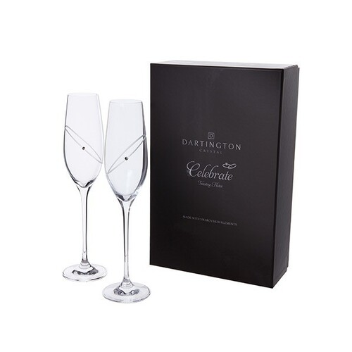 Dartington Crystal 25th Anniversary Celebration Toasting Flute Pair - Clear
