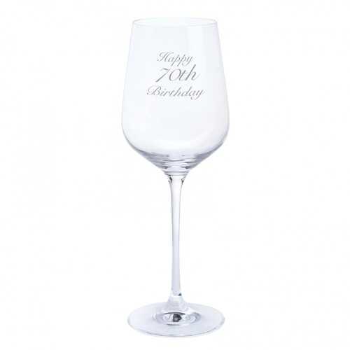 Dartington Crystal Happy 70th Birthday Wine Glass