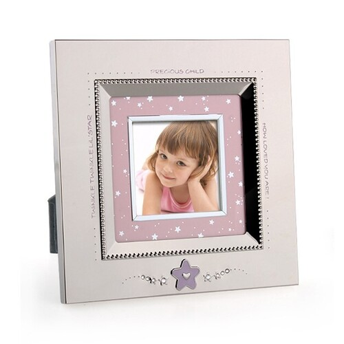 Whitehill Silver Plated Photo Frame - Baby Pink Star 21cm Square